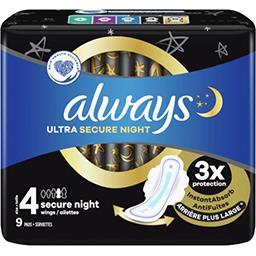 Always Always Serviettes hygiéniques ultra  secure night (t4) avec ailettes Le paquet de 9 serviettes