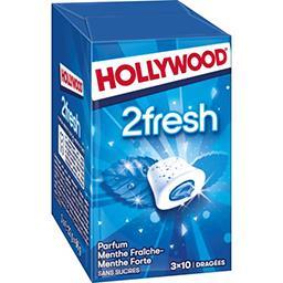 Hollywood Hollywood 2Fresh - Chewing-gum menthe fraîche-forte sans sucres les 3 boites de 10 dragées - 66 g