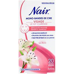 Nair Nair Le kit caresse, spécial visage, mono-bandes de cire froide la boite de 20 bandes + 4 lingettes