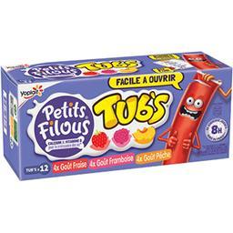 Yoplait Yoplait Petits Filous Tub's - Spécialité laitière goût fraise framboise pêche les 12 tubes de 37 g
