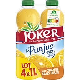 Joker Joker Le Pur Jus - Jus d'orange sans pulpe le lot de 4 bouteilles de 1 l
