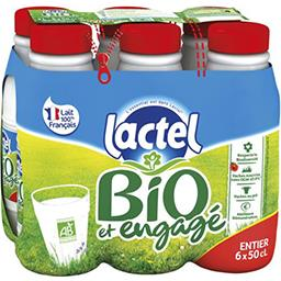 Lactel Lactel Lait entier BIO U.H.T. les 6 bouteilles de 50 cl