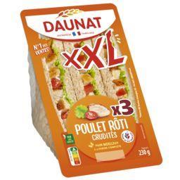 Daunat Daunat XXL - Sandwich pain complet poulet rôti crudités la barquette de 3 - 230 g