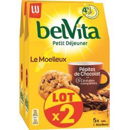 LU LU Belvita Petit Déjeuner - Biscuits Le Moelleux chocolat le lot de 2 paquets de 250 g
