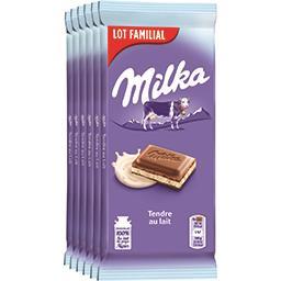 Milka Milka Chocolat Tendre au Lait les 6 tablettes de 100 g - Lot Familial