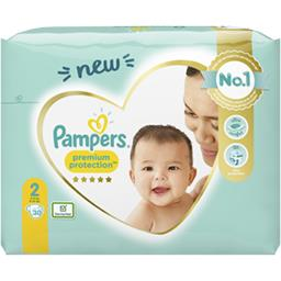 Pampers Pampers Couches premium protection taille 2, 4kg-8kg Le pack de 30 couches