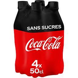 Coca Cola Coca-Cola Zero - Soda au cola sans sucres les 4 bouteilles de 500 ml