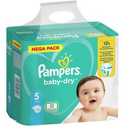 Pampers Pampers Couches baby-dry taille 5, 11-16kg Le paquet de 76 couches