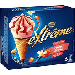Nestlé Extrême L'Original - Glaces fraise vanille sauce fruits rouges la boite de 6 cônes - 426 g