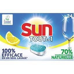 Sun Sun Tout-En-1 pastilles lave vaisselle citron la boîte de 24 tablettes