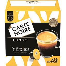 Carte Noire Carte Noire Capsules de café moulu Lungo N°5 les 16 capsules de 8 g