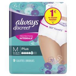 Always Always Discreet culottes pour fuites urinaires plus -m Le paquet de 9 culottes