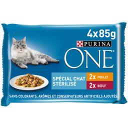 Purina One Purina One Effilés en sauce poulet et bœuf pour chats stérilisés les 4 sachets de 85 g