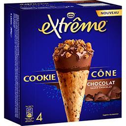 Nestlé Extrême Cookie cône chocolat sauce chocolat la boite de 4 - 284 g