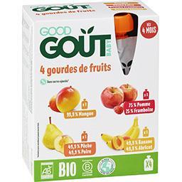 Good Goût Good Goût Compote variety fruits mangue, pêche poire, pomme framboise, banane abricot Bio - dès 4 mois les 4 gourdes de 120g - 480g