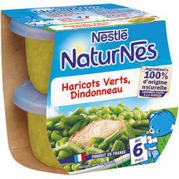 Nestlé Nestlé NaturNes  - Haricots verts dindonneau, dès 6 mois les 2 pots de 200 g