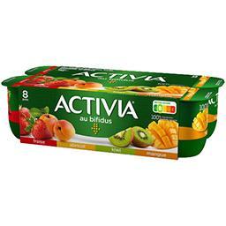 Danone ACTIVIA Lait fermenté au bifidus fraise abricot kiwi mangue les 8 pots de 125 g