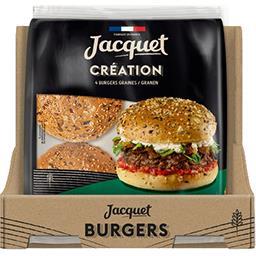 Jacquet Jacquet Pain burger création aux graines le paquet de 4 burgers - 260g