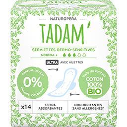Tadam' Tadam' Serviettes dermo-sensitives Normal+ avec ailettes le paquet de 14