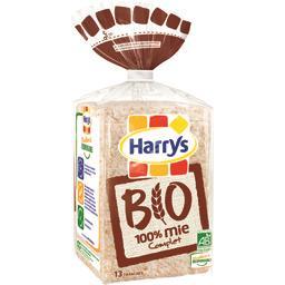 Harry's Harrys Pain de mie Bio sans croûte 100% Mie Complet le paquet de 13 tranches - 325g