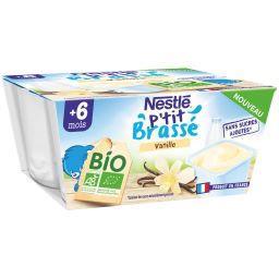ASSE NESTLE Dessert bébé vanille Bio - dés 6mois les 4 pots de 90g - 360g