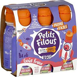 Yoplait Yoplait Petits Filous - Yaourt à boire goût fraise les 6 bouteilles de 100 g