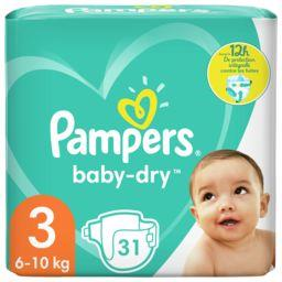 Pampers Pampers Couches baby-dry taille 3, 6-10kg Le paquet de 31 couches