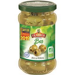 Tramier Tramier Olives vertes Bio dénoyautées au naturel l'ail et persil le bocal  de 130g