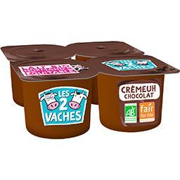 Les 2 vaches Les 2 Vaches Crème dessert chocolat BIO les 4 pots de 95 g