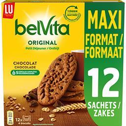 LU LU Belvita - Biscuits Petit Déjeuner Original chocolat le paquet de 12 sachets - 600 g