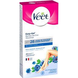Veet Veet Bandes de cire Easy-Gel peaux sensibles les 40 bandes + 4 lingettes
