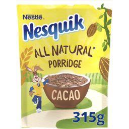 Nesquik Nestlé Chocolat Nesquik - Flocons d'avoine et cacao All Natural la poche de 315 g