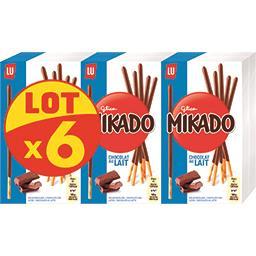 LU LU Mikado - Biscuits chocolat au lait le lot de 6 boites de 90 g