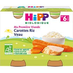 HiPP Hipp biologique Ma Première Viande - Carottes riz veau BIO, dès 6 mois les 2 pots de 190 g