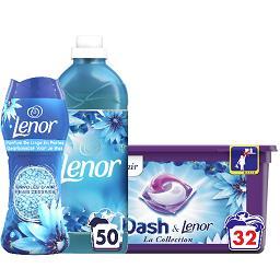 Dash DASH LENOR Lessive en capsules la boîte de 32, adoucissant la bouteille de 1,15l et parfum de linge en perles la boite de 224g Le lot