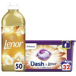 Dash DASH LENOR Lessive souffle précieux, la boîte de 32 et Adoucissant souffle précieux la bouteille de 1.15l Le lot