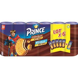 LU LU Prince - Biscuits fourrés goût chocolat et goût vanille les 6 paquets de 300 g