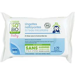 SO'BiO étic So'bio Etic Baby - Lingettes nettoyantes à l'eau micellaire le paquet de 70 lingettes