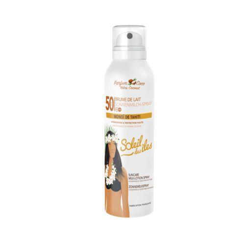 Soleil Soleil des îles Brume de lait hydratation et protection haute parfum coco SPF50 la bouteille de 200ml