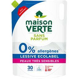 Maison Verte Maison Verte Recharge lessive liquide sans parfum 0% allergènes le bidon de 1,8 l