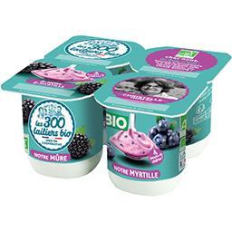 Les 300 & Bio Les 300 & bio Yaourt mûre-myrtille BIO les 4 pots de 125 g