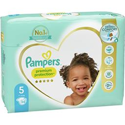 Pampers Pampers Couches Premium Protection taille5, 11kg-16kg Le paquet de 34 couches