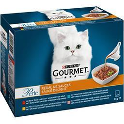Gourmet Gourmet Perle - Régal de Sauces aux viandes et poissons pour chat les 12 sachets de 85 g