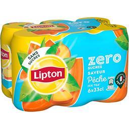 Lipton Lipton Ice Tea - Boisson saveur pêche zéro sucres les 6 boites de 33 cl