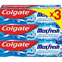Colgate Colgate Max Fresh - Dentifrice cristaux fraîcheur les 3 tubes de 75 ml