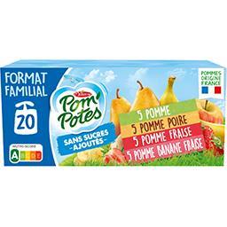 Materne Pom'potes Pom'Potes - Assortiment de spécialité de fruits et purée de fruit les 20 gourdes de 90 g