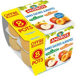 Andros Andros Purée de pomme nature et pomme abricot sans sucres ajoutés les 8 pots de 100 g - Offre Découverte