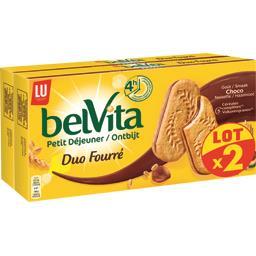 LU LU Belvita Petit Déjeuner - Biscuits goût noisette et chocolat, duo fourré la boite de 506 g