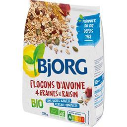 Bjorg Bjorg Flocons d'avoine 4 graines et raisins BIO le paquet de 375 g