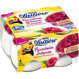 La Laitière La Laitière Yaourt onctueux framboise intense les 4 pots de 120 g